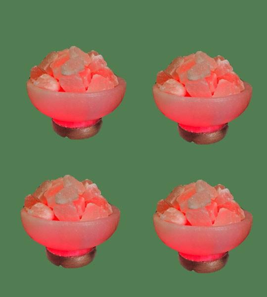 Himalayan Salt Lamp Red Round Fire Bowl 4 Units White